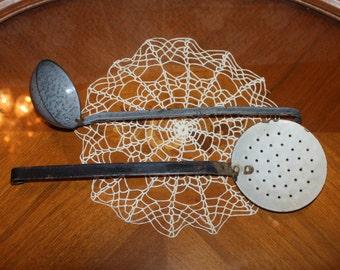 Vintage Enamelware Ladle and Strainer