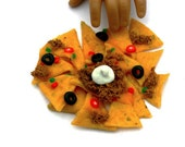 Nachos with Cheese, Olives, Peppers, Seasoned Beef and Tomatoes - Handmade Gourmet Doll Food For Your American Girl Doll