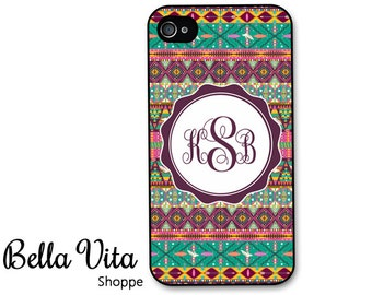 Monogrammed iPhone 4 Case -  Tribal Aztec Pattern Monogram iPhone 4s Case, iPhone 4 Protective Case, Rubber iPhone 4 Cases I4C