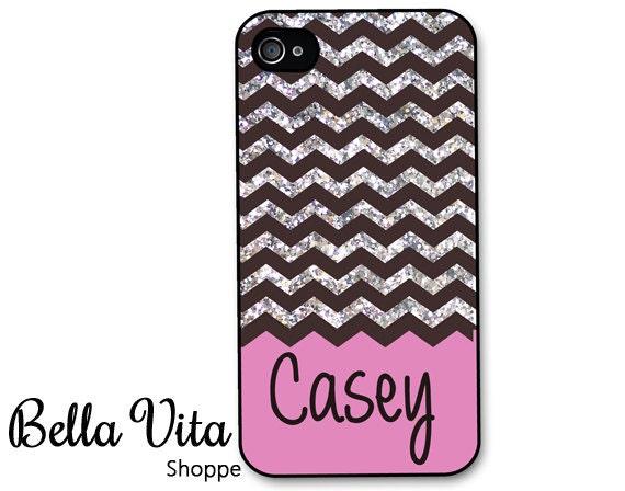 iPhone 4 Case - Black Glitter Chevron Pink Monogram iPhone 4s Case ...
