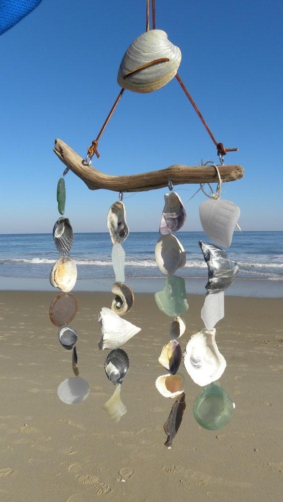 Beach glass mobile sea glass wind chime driftwood sea shell wind