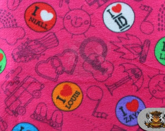 "Fleece Printed Fabric I Love One Direction Fuchsia / 58"" Wide / Sold by the yard SL-518"