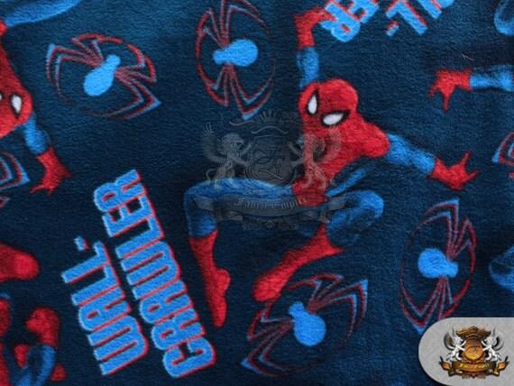 Fleece fabric printed spiderman wallcrawler 58 w for Spaceship fleece fabric