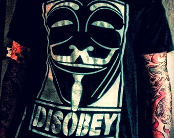 Anonymous Disobey V for Vendetta T shirt black. All sizes