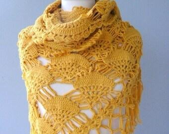 Mustard Yellow shawl, Cotton shawl Hand crocheted shawl, Yellow cotton Shawl