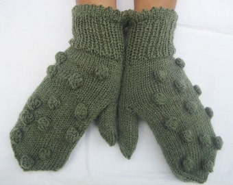 Knitted mittens, Knitted Green Woman Gloves, Handmade gloves winter gloves winter mittens s size