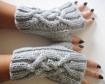 Cable Knitted Fingerless Gloves, Mitts, Light Gray Mittens, Wristwarmers