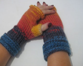fingerless gloves, arm warmers, wrist warmers, Knitted Fingerless, Woman, yellow, blue, purple, red Shades Accessory, Winter Half Gloves