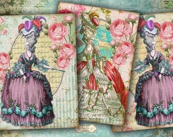 Marie Antoinette - Digital Collage Sheet - Printable Cards - Gift Tags - Scrapbook Paper - Vintage Ephemera - Instant Download