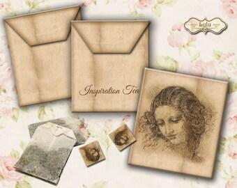 Inspiration Tea Bag Envelope - Instant Download - Digital Collage Sheet - Leondardo da Vinci - Envelope Download - Printable Envelopes