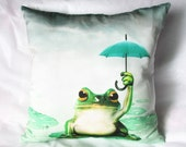 Decorative throw pillows cover frog umbrella pillow cover 18x18 frog decorative pillows for couch
