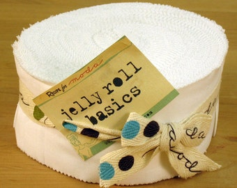"Moda Jelly Roll BELLA SOLIDS - White - (40) 2 1/2"" x 44"" strips - Cotton Quilt Fabric - 9900JR-98 (W235)"