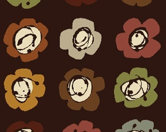 SUPER CLEARANCE!! One Yard Leaf Haven - Blossom in Espresso - Cotton Quilt Fabric - by Michele D'Amore - Benartex Fabrics (W721)