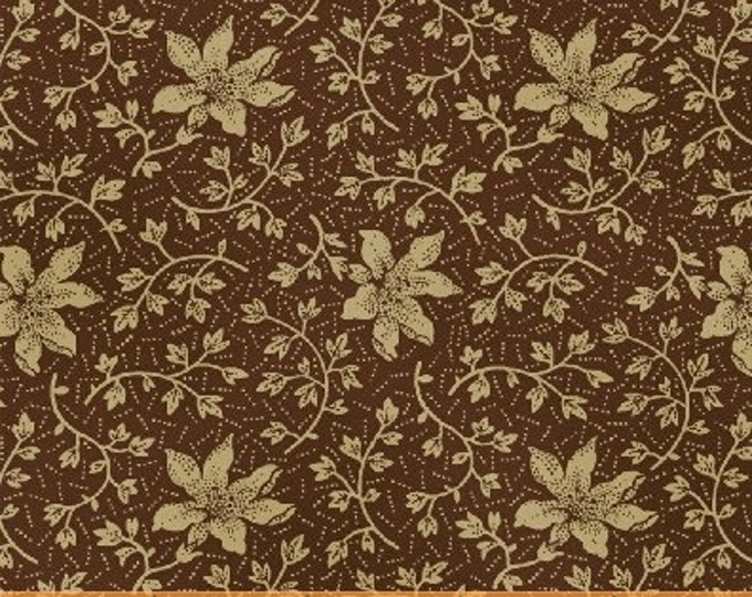 SUPER CLEARANCE!  One Yard Rebecca - Mono Floral in Brown - Cotton Quilt Fabric - by Mary Koval  - Windham Fabrics (W316)
