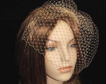 Champagne Birdcage Veil, Ready to Ship, Bridal Birdcage Veil, Bird Cage Veil, Blusher Veil, Ivory, White, Ecru, Blush, Black Many Colors
