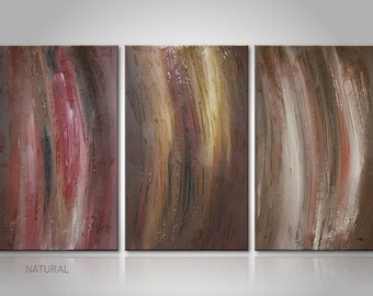 """Textured fine art multipart wall hanging: """"Natural"""" Three part piece with brown - earth-colored in 36x20 inches canvas art streched on frame"""