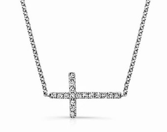 Sideways Diamond Cross Necklace 14K White Gold