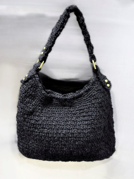 Starry Night/ handmade crochet wool hobo bag by CrochetbyBettyJo