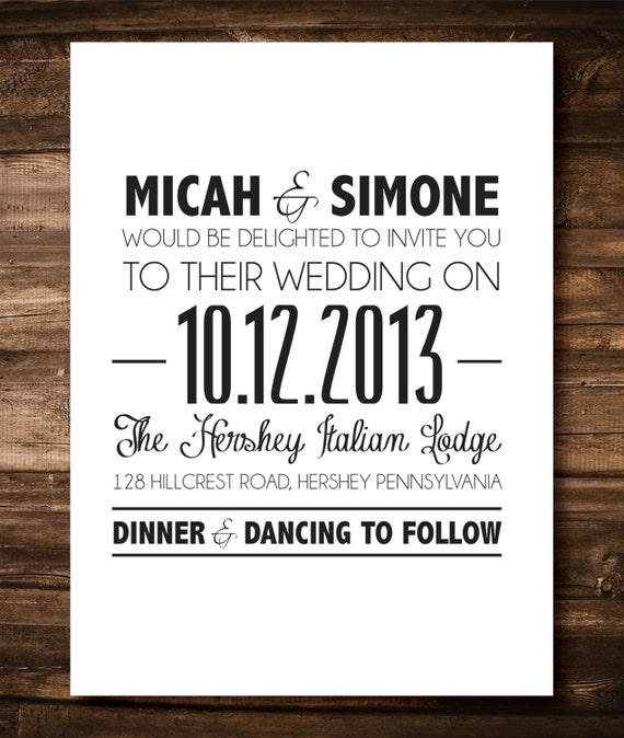Items similar to black and white simple wedding for Simple wedding invitations with pictures