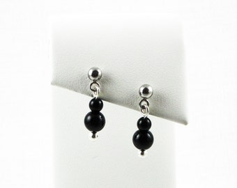Gradated Black Onyx Beads With Silver Ball Short Dangle Earrings