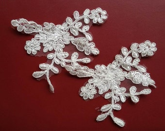 Wedding Applique, Ivory Lace Applique, Romantic Bridal Applique, Sewing Supplies