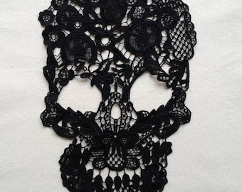 Skull Lace Applique in Black, Cotton Lace Applique, Costume Applique, Black Lace Applique