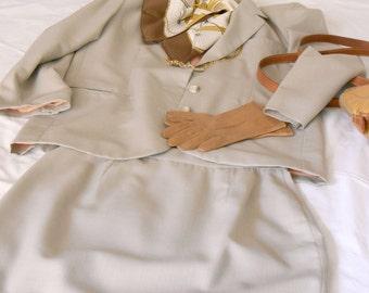 ON SALE-20% off  Spring vintage suit, light brown, cool wool,  original '90s