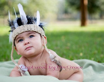 Crochet Indian Headdress NB through 12mos photography prop
