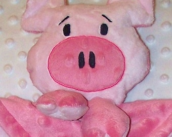 Hand-crafted Pig Woobie - Minky Security Blanket