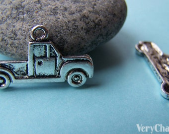 10 pcs of Antique Silver Truck Pendants Charms 15x26mm A933
