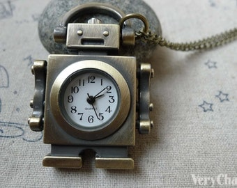 1 PC Antique Bronze Robot Pocket Watch Necklace CHAIN INCLUDED 47mm A6194