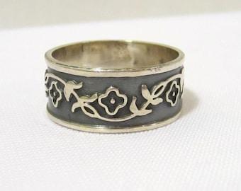 Vintage Design Floral Sterling silver Band Ring Size 10.25