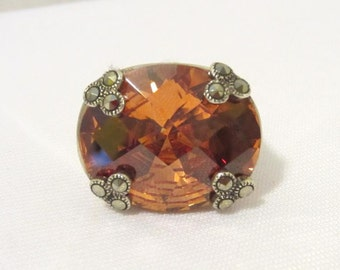 Vintage Sterling silver Champagne Topaz & Marcasite High Dome Ring Size 7