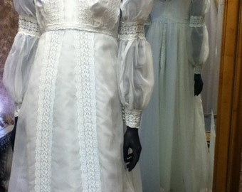 1960 Empire Design, Blue Chiffon, Vintage Bridal Gown, with Detachable Train