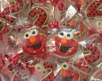 Elmo Cookies, Elmo Birthday; Elmo party Favors, Number Cookies