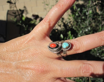 Turquoise, Coral and Sterling Ring Size 6.75