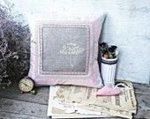 Pillow cower in pink colors. Embroidery cross: umbrella