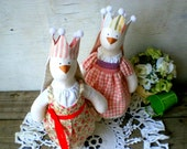 Hares sisters, a gift for twins, a hare in pink-beige colors, rabbit cloth toy, toy for sisters, doll sisters princess, twins toy