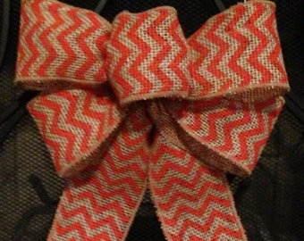 CHEVRON BURLAP BOW, Orange Burlap Bow, Home Decoration, Halloween Bow, Chevron orange bow , Fall Bow