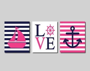 pink sailboat etsy. Black Bedroom Furniture Sets. Home Design Ideas