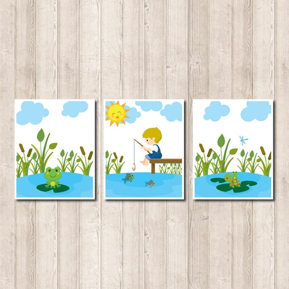 Little Boy Fishing Nursery Wall Art Nature by LovelyFaceDesigns