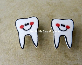 Tooth Earrings Nickel Free Posts Dental Assistants Dentists Gag Gift