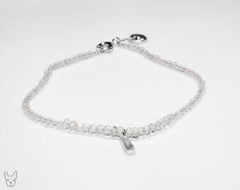 Beautiful Fine Silver Crystal Pendant Bracelet with Rose Quartz, Aquamarine and Tourmaline