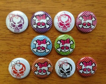 Cute Skull Buttons Set of 10 Pinback Skull buttons