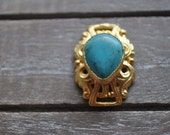 Gold Plated Enamel Bezel Base Pendant with Turquoise Stone, Jewelry Findings, Matte Gold Crafting Supplies, Turquoise