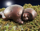 Ladybug Sleeping Baby Statue  Anqitue Copper Finish - Cast Stone Lady Bug - WrenGifts