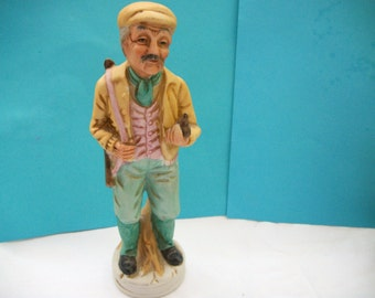 Vintage Homco Like Bisque Figurine Old Man Hunter Great Mothers Day, Fathers Day. Housewarming, Birthday, or Wedding Gift