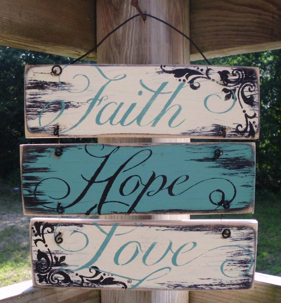 Wire hung faith hope and love sign 12x12 for Love sign