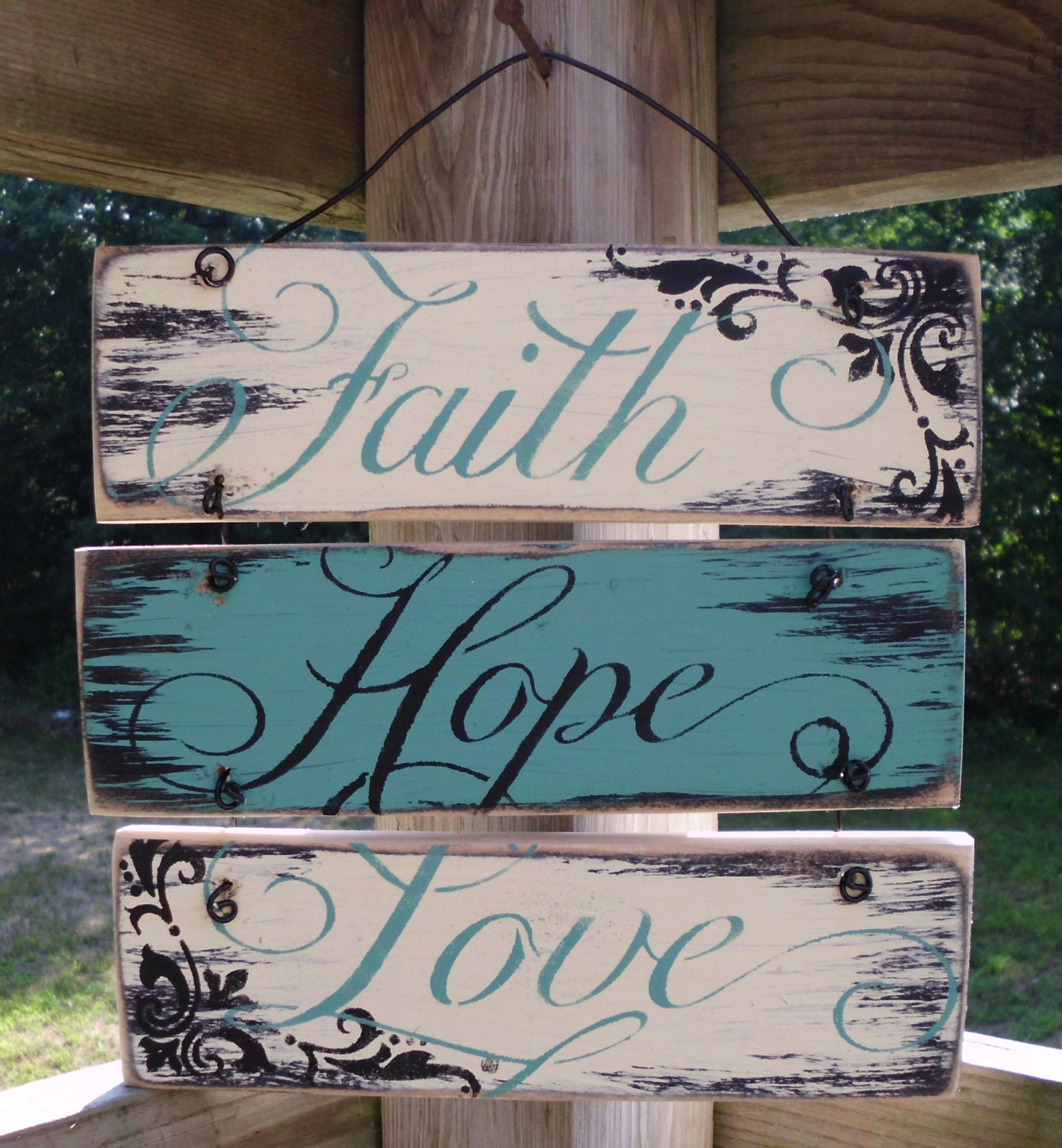 Wire hung faith hope and love sign 12x12 rustic by for Love sign