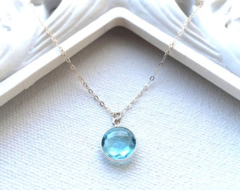 Aquamarine Quartz Necklace, March Birthstone Necklace, Sterling Silver or Gold Filled, Aquamarine